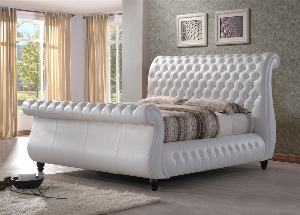 norway white leather sleigh bed frame the bed depot. Black Bedroom Furniture Sets. Home Design Ideas